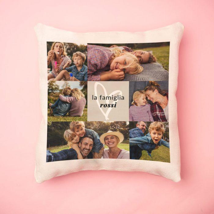 Federa per Cuscino con 6 Foto e Testo