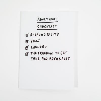 Biglietti di auguri - Biglietto d'auguri Adulthood Checklist