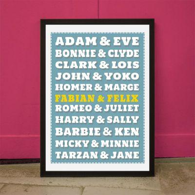 Idee regalo genitori - Poster Personalizzabile Coppie Famose