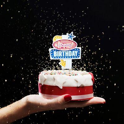 Rétro - Insegna LED per Torte di Compleanno Las Vegas