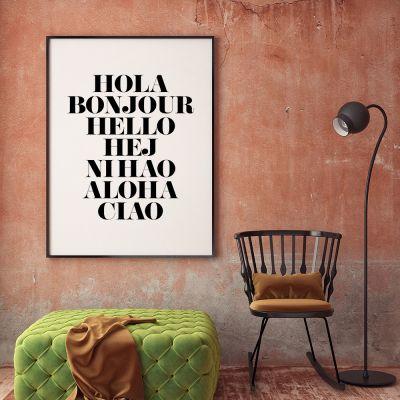 Idee regalo amico - Hola Bonjour Poster di MottosPrint