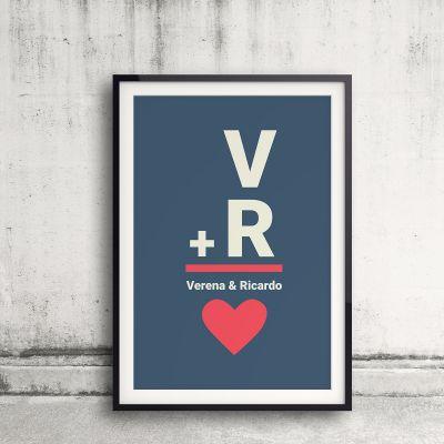 Regalo anniversario matrimonio - Iniziali - Poster Personalizzabile