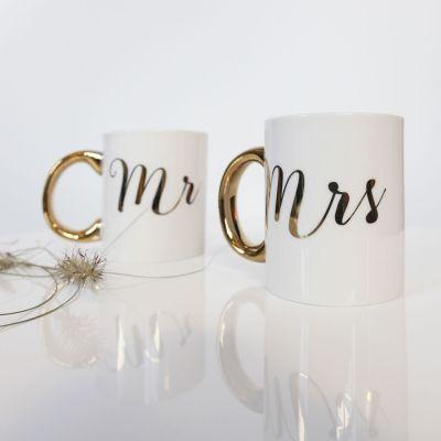 Regali romantici - Tazze Dorate Mr & Mrs