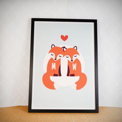 Regalo anniversario matrimonio - Poster Personalizzabile Coppia di Volpi