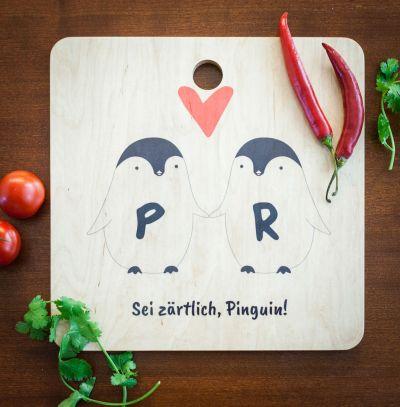 Regali romantici - Tagliere Personalizzabile - Coppia di Pinguini