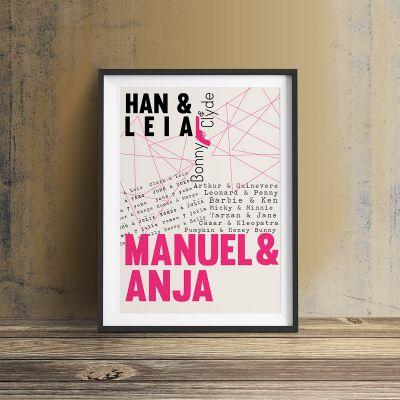 Regalo anniversario matrimonio - Amanti Famosi - Poster Personalizzabile