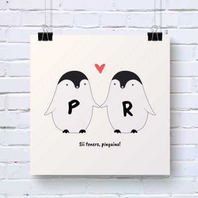 Festa della Donna - Coppia di Pinguini – Poster Personalizzabile