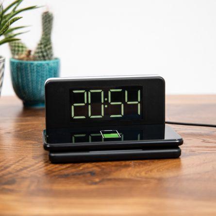 Caricabatterie Wireless con Orologio e Luce Notturna