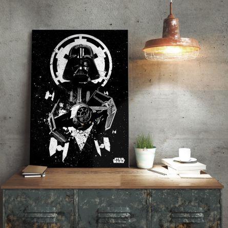 Poster di metallo Star Wars - Tie Fighter Vader