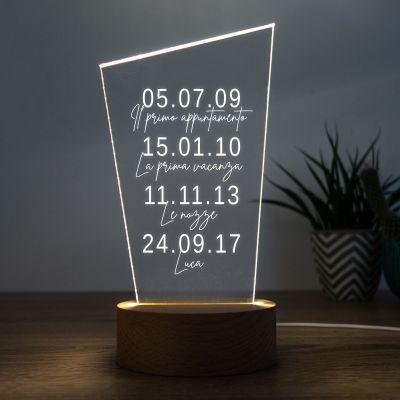 Regali per l'Anniversario di Matrimonio - Lampada LED con Date Importanti
