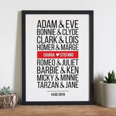 """Decorazione - Poster personalizzabile """"coppie famose moderne"""""""
