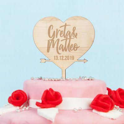 Regali con Incisione - Cake Topper con Cuore Personalizzabile