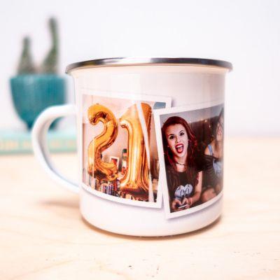 Regali compleanno per lei - Tazza di metallo personalizzabile con foto