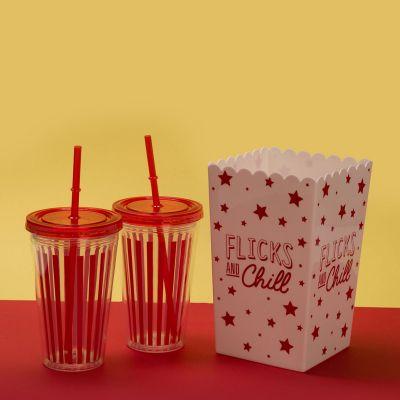 Tazze & Bicchieri - Kit Come al cinema - Scatola per popcorn e bicchieri per bibita
