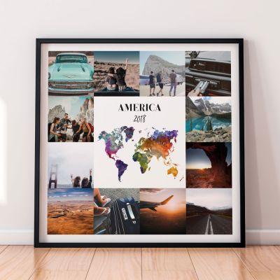 Regali per l'Anniversario di Matrimonio - Poster di viaggio personalizzabile con 12 foto