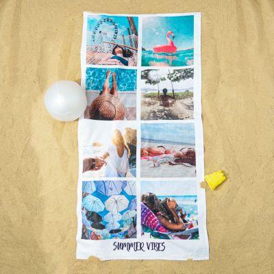 Regali compleanno per lei - Telo Mare Personalizzato con 8 Foto e Testo