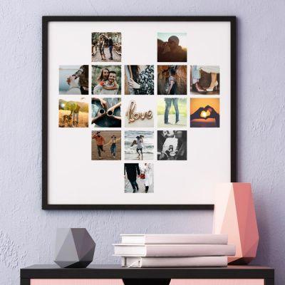 Decorazione - Poster personalizzabile a forma di cuore con foto