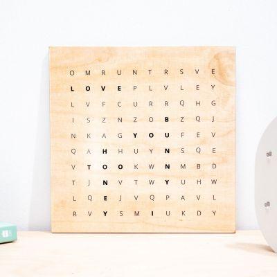 """Decorazione - Quadro in legno personalizzabile """"Cerca la parola"""""""