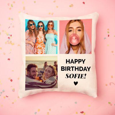 Regali di Compleanno per Lei - Federa personalizzata con 3 foto e testo