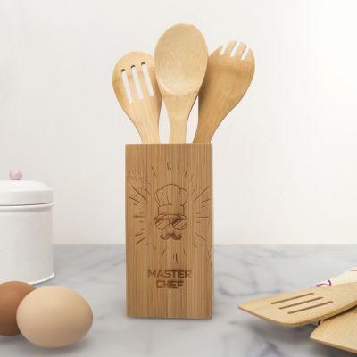 Cucina & Grill - Set di Cucchiai di Legno Personalizzabile con Box Master Chef
