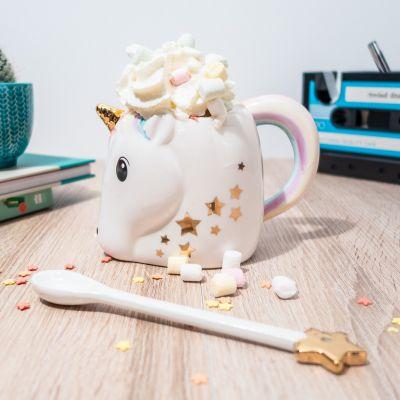 Regali Unicorno - Tazza a Forma di Unicorno con Cucchiaio Bacchetta Magica