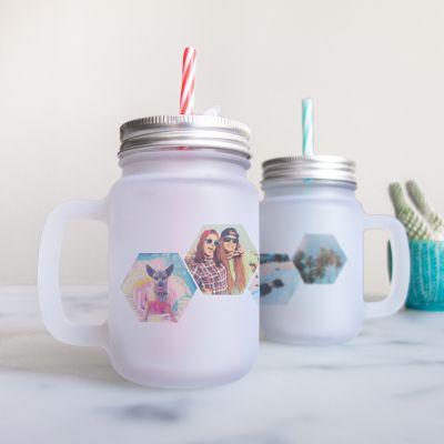 Regali compleanno per lei - Bicchiere a Barattolo Personalizzabile con 4 Foto