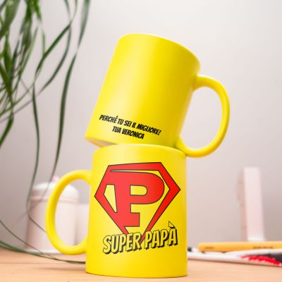 Regalo compleanno papà - Tazza Personalizzabile Neon Super Papà