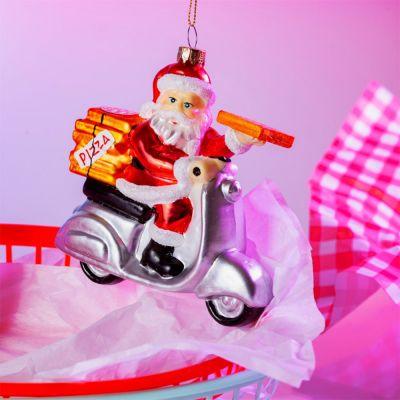 Decorazione - Palla di Natale Babbo Natale Consegna-Pizze