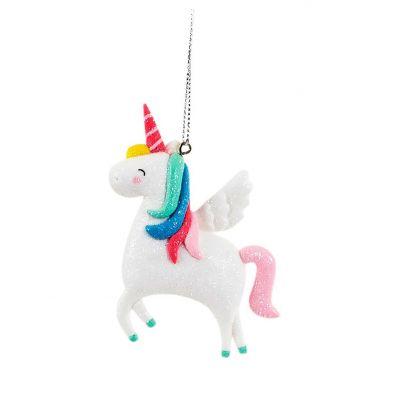Decorazione - Palla di Natale Unicorno con Paillettes