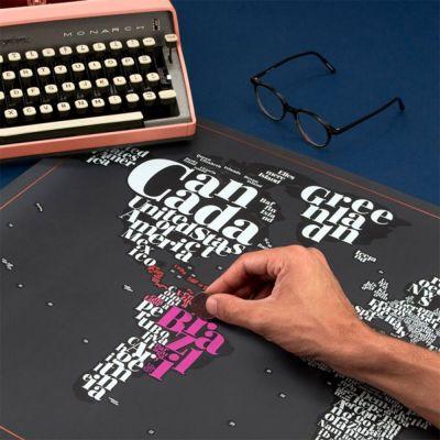 Decorazione - Mappa del Mondo Tipografica da Grattare