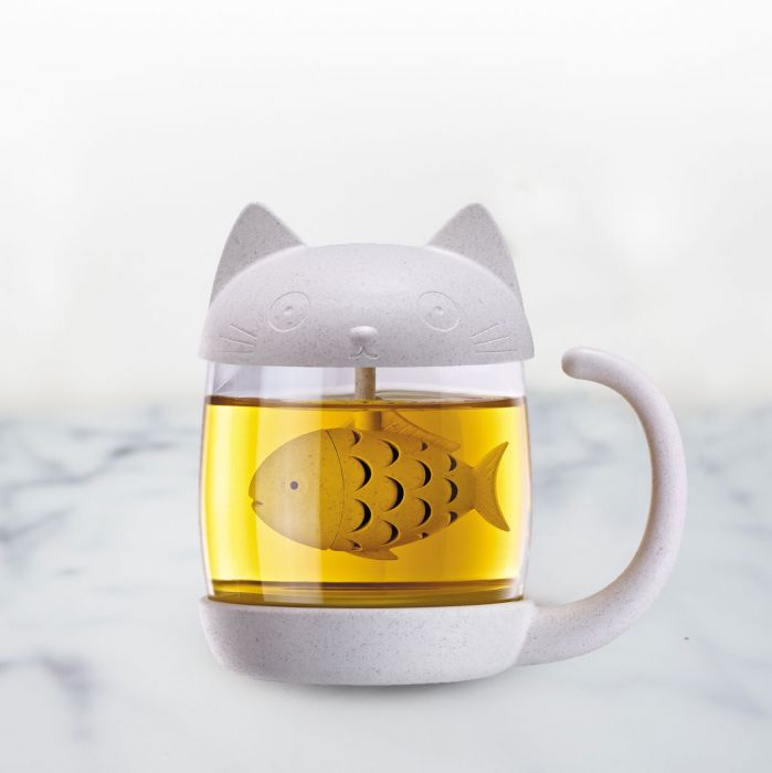 Tazza da Tè Gatto con Infusore Pesce