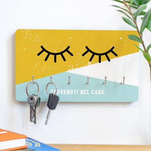 Cofanetti Regalo - Portachiavi da Parete Occhi con Testo Personalizzabile