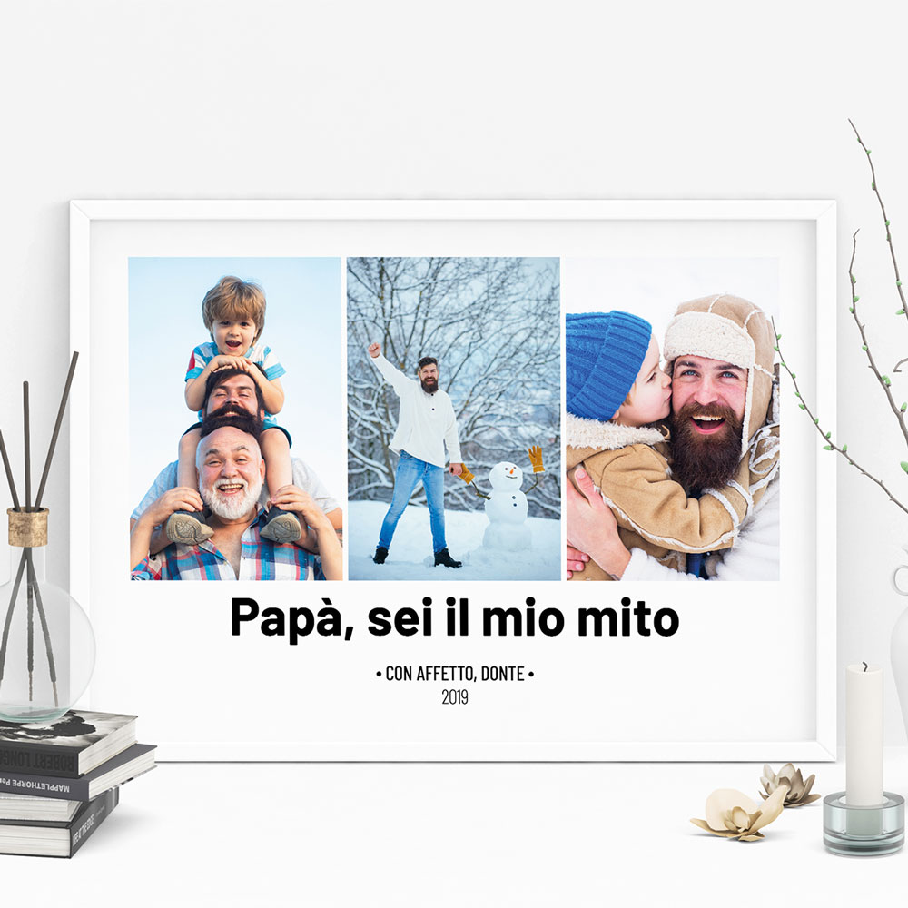 regali per il papà poster con 3 foto e testo